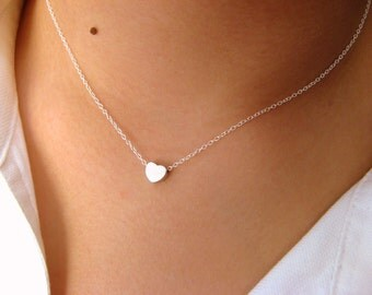 Dainty Heart Necklace - Little Sterling Silver Necklace with Tiny Heart matt rhodium plated - sterling silver necklace - heart necklace