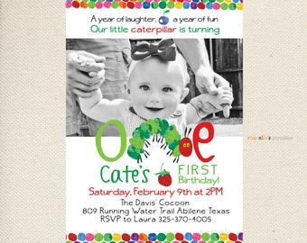 A Hungry Caterpillar inspired Birthday Party Invitation - Custom Printable