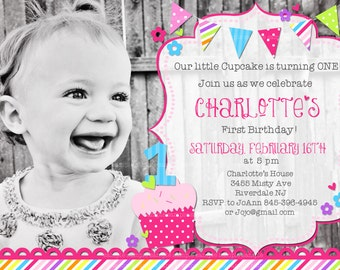 Little Cupcake First Birthday Printable Invitations