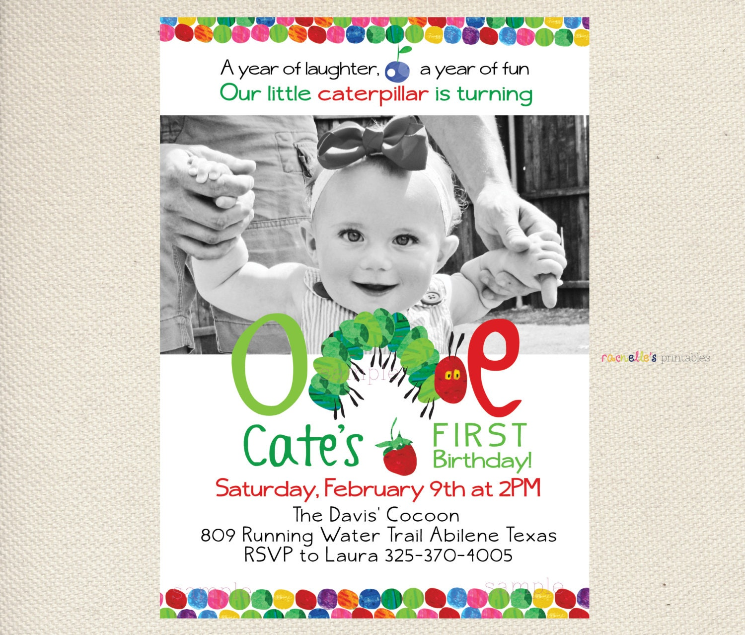 Enchanting Hungry Caterpillar Invitations Birthday Mold - Invitation ...
