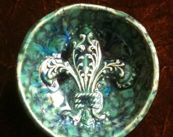 Fleur de Lis marbled blue handmade Pottery Bowl