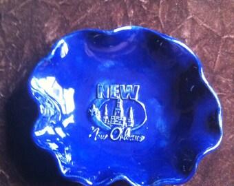 New Orleans handmade royal blue Pottery Bowl