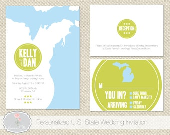 Personalized U.S. State Wedding Invitations, Wedding Invites, Invitation Suite  - Deposit to get started