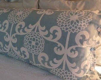 Waverly Fun Floret home decor fabric in a serene aqua & white contemporary floral body pillow cover.