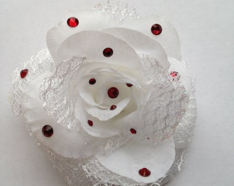 White Rose With Red Bling Hair Clip