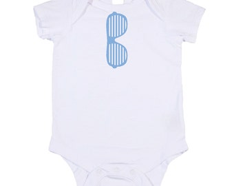 Blue & White Shutter Shades One Piece Bodysuit. Great Baby Shower Gift / Birthday Present for kids. (Toddler Shirt Avail)