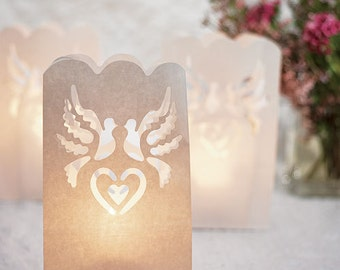 Dove Paper Bag Luminaries - 12 Pieces - Wedding Ceremony Decor