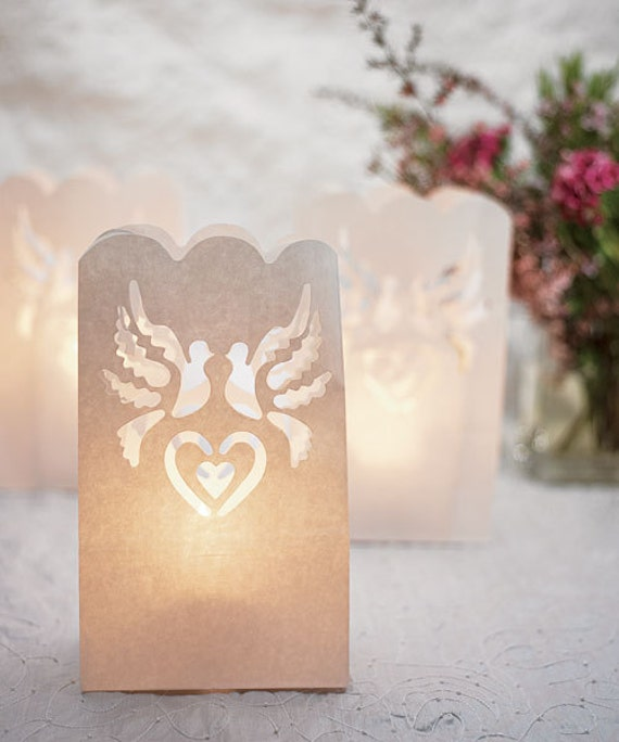 Dove Paper Bag Luminaries 12 Pieces Wedding By RocheleauDesigns