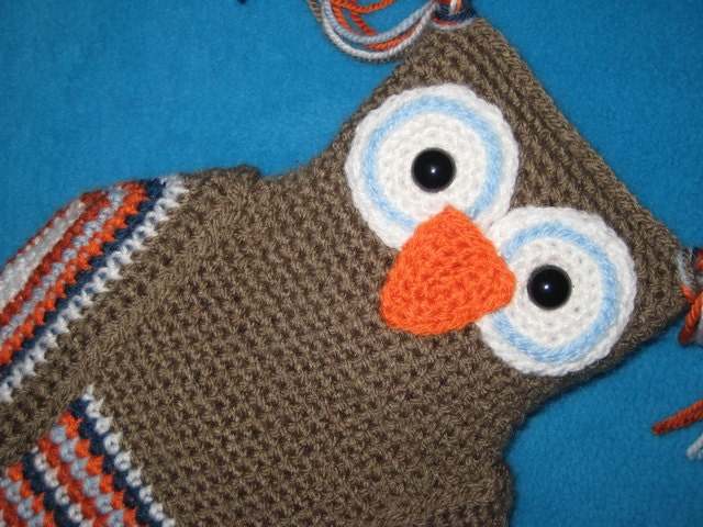 Owl Hot Water Bottle Cover Knitting Pattern : Owl Hot Water Bottle Cover PJ Pyjama Case Pillow Crochet