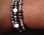 Three piece gray bracelet set
