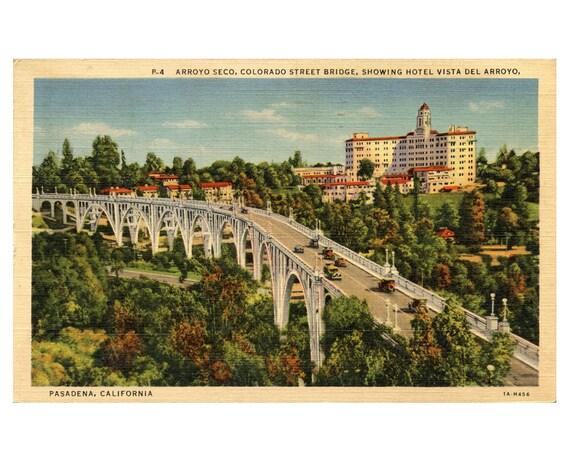 California Vintage Postcard - Colorado St Bridge Hotel Vista Del Arroyo, Pasadena CA 1930's Linen Post Card Highway and Cars Old Antique