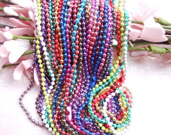 20pcs 2.4mm Assorted colors(15colors) Ball Chain Necklaces - 27inch