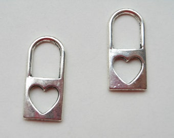 30 pcs of Antique Silver Lock Charms 12mmx25mm