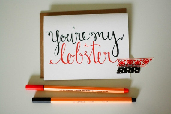 You're my Lobster Hand Lettered card