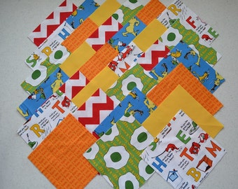 "30 6"" Sam I Am, DR SEUSS Green Eggs and Ham, plus Red Zigzag Quilt Fabric Squares"