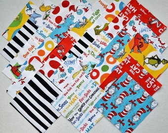 "30 Dr. Seuss 6"" Cat In The Hat Head and Red 10 diff prints Quilt Fabric Squares SetB"