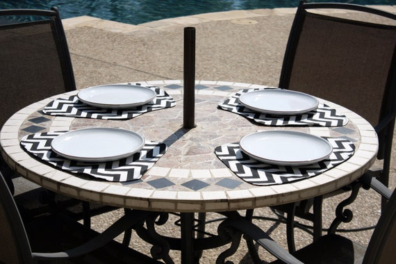 Placemats For Round Tables Black Chevron Zig Zag And Dots