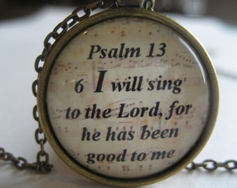 I Will Sing To The Lord Scripture Necklace Bible Verse Psalm 13:6