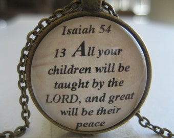 All Your Children Will Be Taught By The Lord Scripture Necklace Bible Verse Isaiah 54:13