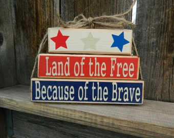 4th of July Mini wood blocks--Land of the Free Because of the Brave