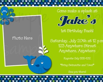 Preppy Whale Boy Birthday Invitation