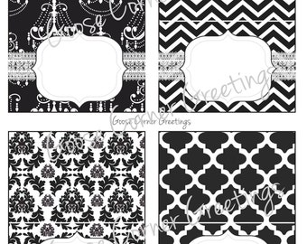 DIY Printable Food Labels/Table Tents-Instant Download-Black & White-Paris-Damask-Chandelier-Birthday party, Shower etc.