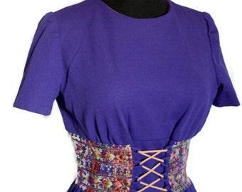 SALE - Vintage 1960s Royal Purple Corset Mini Dress with Ethnic Embroidered Waist