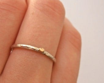 Silver / 14k gold pebble stackable skinny ring,  14k 2mm pebble and Sterling silver made to order