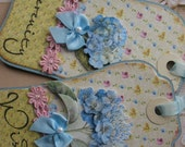 BLUE SPRING FLOWER  Shabby Chic Handmade Gift Tags (Set of 2)