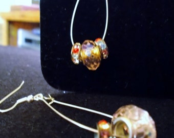 SALE !! Chandelier Earrings, Swarovski Clear Crystal Center with Multi Colored Swarovski Inlaid Round large hole beads.
