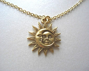 Gold Sun and Moon Pewter Charm Celestial Necklace, Love & Friendship, Soulmate, Gift for her
