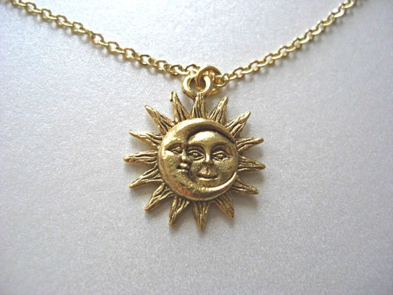 Gold Sun And Moon Pewter Charm Celestial Necklace Love