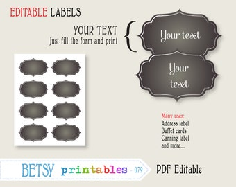 Chalkboard labels, Editable labels or tags, chalkboard digital labels or tags, PDF labels or tags - INSTANT DOWNLOAD  079
