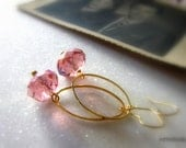 Pink Crystals Earrings Romantic Earrings Minimalistic  Gold and Pink Gold Dangles Sparkle earrings - Simplicity - WhiteTeapot