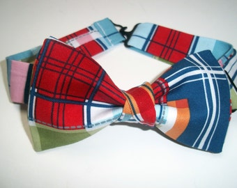 Madras Bow Tie-Blue Bow Ties-Bow Tie for Boys-Blue Red Green Boy's Bow Tie-Bow Ties for Kids-Madras