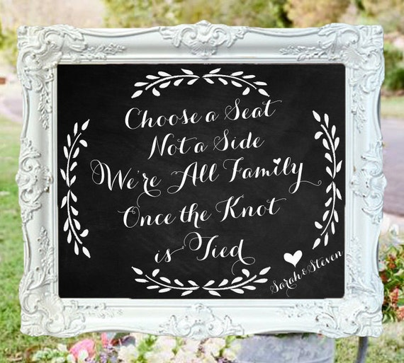 Chalkboards For Weddings: READY TO SHIP Wedding Chalkboard Choose A Seat Not A Side