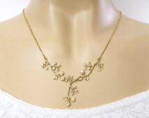 Branch necklace, Gold branch necklace, Golden leaves, Dangle necklace, Branch and leaves necklace, Delicate branch necklace, Twig necklace