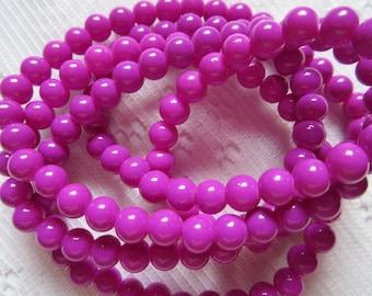 28  Purple Pink Magenta Round Glass Beads  6mm