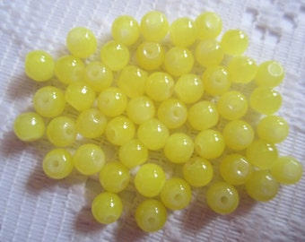 25  Bright Lemon Yellow Opal Round Ball Glass Beads  6mm