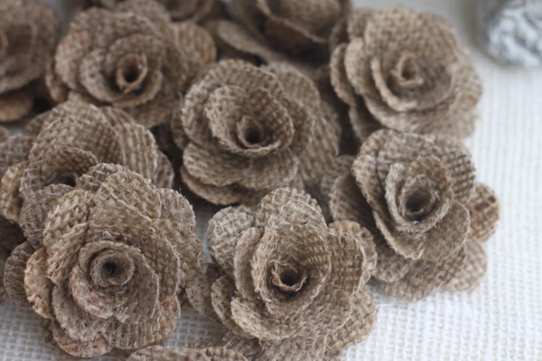 10 morceaux de fleurs de toile de jute mariage rustique. Black Bedroom Furniture Sets. Home Design Ideas