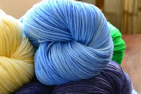 Blue Bonnet colorway on Arundel -  3-Ply Superwash Merino Wool Hand Dyed Yarn