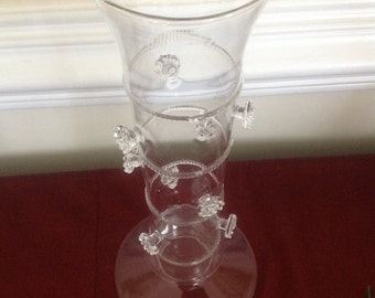 Mouth Blown Clear Glass Vase with Applied Flowers