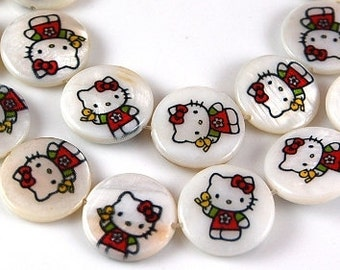 Two (2) Kawaii Hello Kitty Genuine Natural Mother-of-Pearl Coin Beads 18 mm with an approximately 1 mm hole