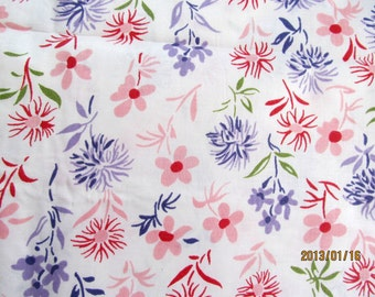 RESERVED Lovely Vintage Polished Glazed Cotton TOSSED FLOWERS 2Yds  by 36""