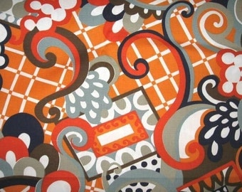 SPECTACULAR Vintage Cotton WILD ABSTRACT Print Upholstery Fabric 1970's  Mod Geometric