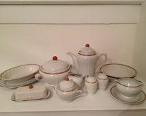 Hearthside Americana Stoneware Berries 'n Cream Serving Pieces