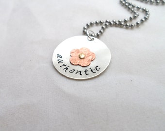 HAND STAMPED Jewelry - Riveted with flower and stamped with the word of Choice, Gift idea, kids jewelry, bridesmaid jewelry