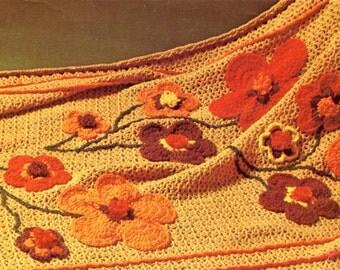 Hippy Flower Crochet Blanket Pattern, 1970's Flower Power