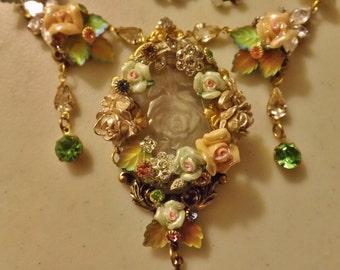 Victorian Wedding Necklace CUSTOM MADE Choker Porcelain Roses Rhinestones Vintage