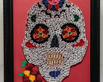 Day of the Dead Paper Quilled Wall Art or Dia de los Muertos